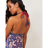 M&S White Stuff Womens Palm Print Halterneck Swimsuit - 8 - Blue Mix, Blue Mix