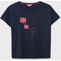 M&S White Stuff Womens Cotton Modal Bird Print Regular Fit T-Shirt - XS - Navy Mix, Navy Mix