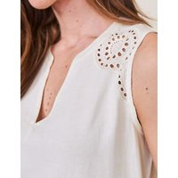 M&S White Stuff Womens Pure Cotton Jersey Broderie Detail Vest Top - 8 - White, White
