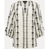 MandS Phase Eight Womens Pure Cotton Floral Broderie V-Neck Blouse - 10 - White, White