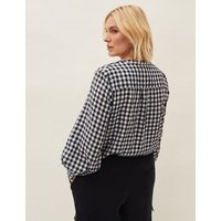 MandS Phase Eight Womens Checked V-Neck Blouson Sleeve Blouse - 10 - Navy Mix, Navy Mix