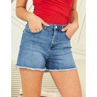 M&S Sosandar Womens Denim Cut Off Shorts - 10 - Indigo, Indigo