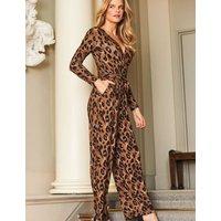 MandS Sosandar Womens Leopard Print Long Sleeve Wrap Jumpsuit - 10 - Brown Mix, Brown Mix