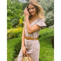 MandS Sosandar Womens Pure Linen Belted Frill Sleeve Tea Dress - 18 - Pink, Pink