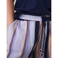 M&S White Stuff Womens Organic Cotton Striped High Waisted Shorts - Purple Mix, Purple Mix