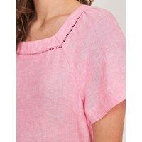 M&S White Stuff Womens Pure Linen Square Neck Midi Shift Dress - 6 - Pink, Pink,Stone Mix