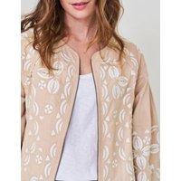 M&S White Stuff Womens Pure Cotton Embroidered Bomber Jacket - 10 - Stone, Stone