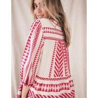 MandS White Stuff Womens Pure Cotton Jacquard Tie Neck Tunic - 12 - Pink Mix, Pink Mix