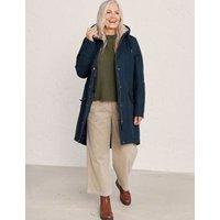MandS Seasalt Cornwall Womens Cotton Hooded Longline Raincoat - 10 - Navy, Navy,Brown,Blue Mix