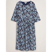 M&S Seasalt Cornwall Womens Cotton Floral Midi Waisted Dress - 10 - Navy Mix, Navy Mix