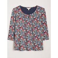 M&S Seasalt Cornwall Womens Floral Scoop Neck Top with Cotton - 18 - Red Mix, Red Mix