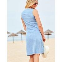 M&S Sosandar Womens Denim V-Neck Sleeveless Swing Dress - 12 - Light Denim, Light Denim