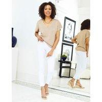 M&S Sosandar Womens Cotton Metallic V-Neck Short Sleeve Top - Rose Mix, Rose Mix