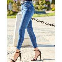 M&S Sosandar Womens High Waisted Skinny Jeans - 6SHT - Mid Blue, Mid Blue