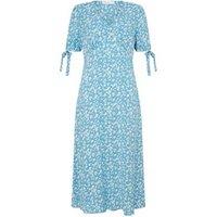 M&S Finery London Womens Floral V-Neck Tie Sleeve Midi Tea Dress - 10 - Blue Mix, Blue Mix