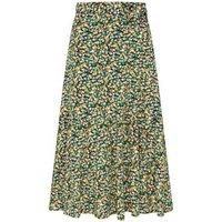 MandS Finery London Womens Floral Print Midi Wrap Skirt - 8 - Green Mix, Green Mix