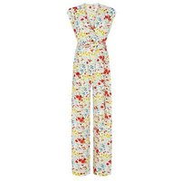 MandS Finery London Womens Floral Belted Sleeveless Wrap Jumpsuit - 10 - White Mix, White Mix