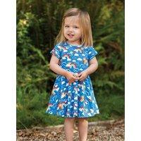 M&S Frugi Girls Organic Cotton Rainbow Dress (6 Mths -5 Yrs) - 4-5Y - Blue Mix, Blue Mix