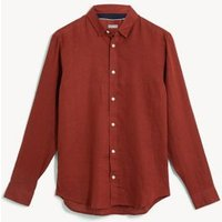 M&S Jaeger Mens Regular Fit Pure Linen Shirt - M - Dark Red, Dark Red