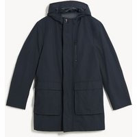 MandS Jaeger Mens Cotton Technical Hooded Parka Jacket - S - Medium Navy, Medium Navy