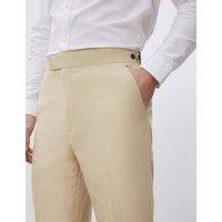 MandS Jaeger Mens Regular Fit Silk Linen Trousers - 32SHT - Stone, Stone,Medium Blue,Medium Navy