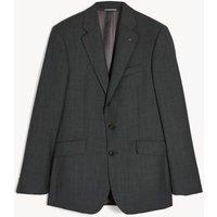 M&S Jaeger Mens Regular Fit Pure Wool Textured Jacket - 40SHT - Dark Grey, Dark Grey