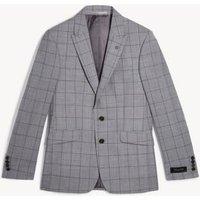 MandS Jaeger Mens Slim Fit Pure Wool Check Jacket - 40SHT - Light Grey, Light Grey