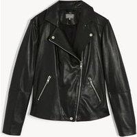 MandS Jaeger Womens Leather Biker Jacket - 8 - Black, Black,