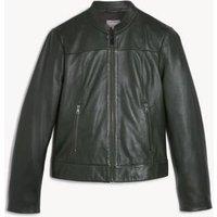 MandS Jaeger Womens Leather Biker Jacket - 8 - Dark Green, D