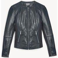 MandS Jaeger Womens Leather Collarless Biker Jacket - 8 - Navy, Navy