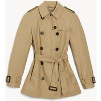 MandS Jaeger Womens Pure Cotton Short Trench Coat - 8 - Stone, Stone,Navy
