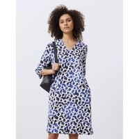 MandS Jaeger Womens Pure Linen Printed V-Neck Dress - 8 - Dark Blue Mix, Dark Blue Mix