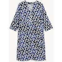 MandS Jaeger Womens Pure Linen Printed V-Neck Dress - 8 - Dark Blue Mix, Dark Blue Mix