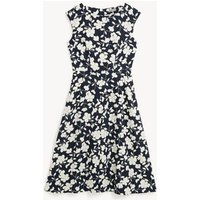 MandS Jaeger Womens Floral Midi Waisted Dress - 8 - Navy/White, Navy/White