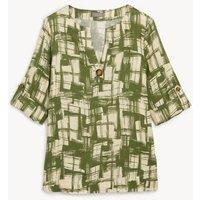 M&S Jaeger Womens Pure Linen Printed Notch Neck T-Shirt - 6 - Khaki Mix, Khaki Mix