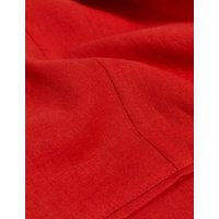 MandS Jaeger Womens Pure Linen Relaxed Single Breasted Blazer - 8 - Red, Red,White