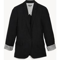 MandS Jaeger Womens Pure Linen Relaxed Single Breasted Blazer - 8 - Black, Black,Navy