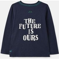 M&S Joules Boys Pure Cotton Slogan Top (2-8 Yrs) - 7-8y - Navy, Navy