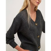 MandS NobodyS Child Womens V-Neck Button Front Cardigan - 6-8 - Grey, Grey,Pink