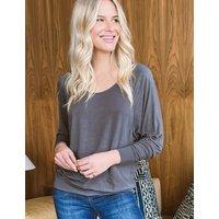 M&S Sosandar Womens Scoop Neck Relaxed Long Sleeve Top - 8 - Grey, Grey