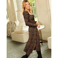 M&S Sosandar Womens Animal Print Square Neck Midi Waisted Dress - 12 - Multi, Multi