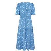 MandS Finery London Womens Spot Print Midi Tiered Wrap Dress - 8 - Blue Mix, Blue Mix