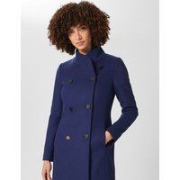 MandS Hobbs Womens Wool Funnel Neck Coat with Cashmere - 6 - Blue, Blue