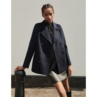 MandS Jaeger Womens Pure Wool Double Breasted Short Pea Coat - 8 - Navy, Navy