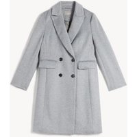 MandS Jaeger Womens Pure Wool Double Breasted Tailored Coat - 6 - Grey, Grey,Navy