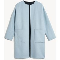 MandS Jaeger Womens Pure Wool Reversible Cocoon Coat - XS - Navy Mix, Navy Mix