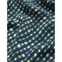 MandS Jaeger Womens Pure Silk Gingham V-Neck Shift Dress - 6 - Navy Mix, Navy Mix
