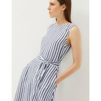 MandS Jaeger Womens Pure Linen Striped Midi Waisted Dress - 8 - Navy/White, Navy/White