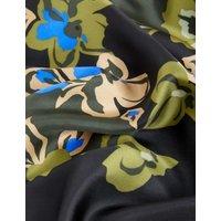 MandS Jaeger Womens Silk Floral Midi A-Line Skirt - 6 - Green, Green