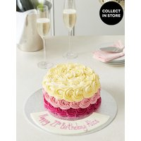 Personalised Shades of Pink Piped Rose Cake (Serves 24)
